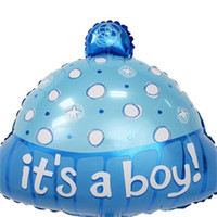 Wholesale baby boy birthday hat resale online - Wave Point Hat Balloon Aluminum Film Birthday Party Decoration Supplies It Is A Boy Girl Baby Shower Blue Pink xtC1