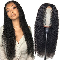 Wholesale human hair front part wigs resale online - 360 Human Hair Lace Front Wigs Brazilian Hair U Part Wigs Kinky Curly Lace Frontal Wig Pre Plucked Full Lace Human Hair Wigs