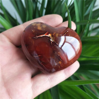 preço ágata vermelha venda por atacado-WholesaleCheap Preço Natural Ágata Vermelha Pedra De Cristal Coração Para Presente Pequeno Coração De Cornalina Para A Decoração Home