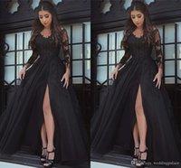 vestido de gala negro al por mayor-Vestidos de fiesta de manga larga con cuello en V asombrosos negros Apliques Vestidos de fiesta formales largos de tul Vestidos de noche de fiesta Robe De Bal