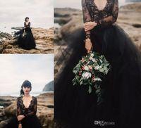 resmi siyah parti elbiseleri toptan satış-Illusion Uzun Kollu Kabarık Tül Boho Ucuz Gotik Örgün Düğün Gelin törenlerinde ile 2020Vintage Siyah Bohemya Gelinlik Backless