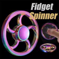 hilandero de aluminio al por mayor-Rainbow Flywheel Fidget Spinner Colorido aluminio EDC Hand spinner Metal Tri-spinner HandSpinner VS Plastic Finger Spinner