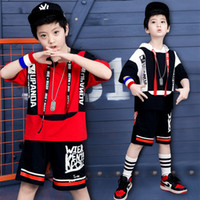 bf82de682d2b Child Boys Hip-hop Jazz Stage Dance Costume Street Dancing Shiny Sequins  Tank Top with Shorts Set Kid Hooded Dance Wear