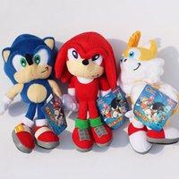 neuer schallheld großhandel-3 teile / satz Neue Ankunft Sonic der Igel Sonic Tails Knuckles die Echidna Kuscheltiere Plüschtiere Mit Tag 9