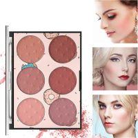 макияж порошок для продажи оптовых-New lady blush natural long-lasting moisturizing rouge 6 color face concealer   box Rouge  box sale