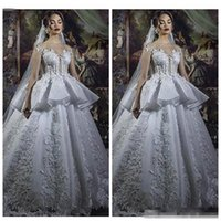 Wholesale short modest lace wedding dress for sale - Group buy 2019 Sheer Short Sleeves Lace Appliques Ball Gown Wedding Dresses Custom Pleated Bridal Gowns Modest Long Robe De Marriage Formal Robe