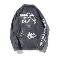 Langarm Graue J0412 Herren Kleidung Hip Print Jeans Männer Hop Denimjacken Frühling 2019 Mantel Jacken Herbst Mode n8Nw0XOPk