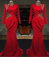 neues sexy rotes v-ausschnitt großhandel-Neue Tony Chaaya 2020 Spitze appliziert schiere V-Ausschnitt formale Abendgesellschaft Kleider durchschauen sexy Illusion Red Mermaid Prom Kleider BC2472