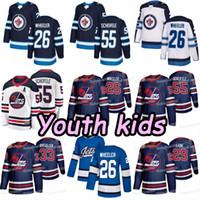 jersey jatos juventude venda por atacado-A juventude caçoa o 26 de Blake Wheeler Winnipeg Jets 2019 Heritage clássico Patrik Laine Dustin Byfuglien Mark Scheifele Hellebuyck Morrissey Jersey