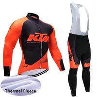 camisa térmica de manga comprida venda por atacado-Nova equipe KTM 2019 Ciclismo mangas compridas jersey conjuntos de calças bib inverno térmica velo Mens roupas de ciclismo ao ar livre sportswear Y011702