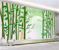 Wholesale modern art bamboo paintings for sale - Group buy 3d wallpaper custom photo murals Bamboo forest bamboo landscape painting TV background wall decorative home decor wall art canvas pictures