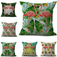 almofada dupla venda por atacado-Dual Couple Flamingo Fronha Capa de Almofada de algodão de linho Jogue Quadrado Fronha Capa Drop Ship 300805