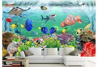 unterwasser 3d wandmalereien für wände großhandel-Wholesale-Custom 3d silk Fototapete tapete 3D Kinderzimmer Wandbild Fantasy Unterwasserwelt Schlafzimmer Hintergrund Wandaufkleber