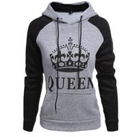 suéter reina al por mayor-Venta al por mayor de hombres y mujeres cartas KING QUEEN pareja moda suéter chaqueta con capucha