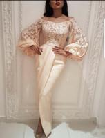 damas vestidos largos arabes al por mayor-2020 Árabe mangas vestidos de baile pregant vestidos de noche del hombro de manga larga de Arabia árabe Dubai señora partido Vestido de noche