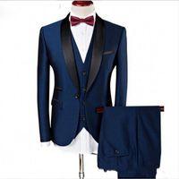 smoking azul do noivo venda por atacado-Custom Made Bonito ternos de casamento Slim Fit Noivo Smoking formal vestidos Xaile Lapela Groomsman ternos (Jacket + Pants + colete)