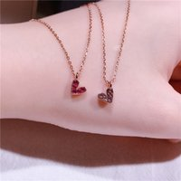 Wholesale cupid pendant gold resale online - S925 silver Cupid heart necklace women s water diamond heart clavicle chain fashion versatile pendant accessories