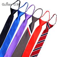 застежка-молния оптовых-Предварительно привязанные студенты молнии галстуки для мужчин Женщины мальчики девочки регулируемый тонкий мужской галстук сплошной красный черный галстук