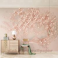 розовые цветы оптовых-Customized large mural  elegance 3d stereoscopic flower rose gold 3D wallpaper for living room TV backdrop wall paper
