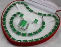 anel colar earing venda por atacado-Jewelryr Jade Set conjunto especial 0029 colar de Jades, earing, conjunto de anel de pulseira Frete Grátis