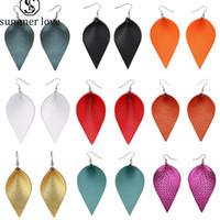 fashion leaf leather earrings for women Colorful teardrop earrings girls cute party wedding earrings light weight jewelry accessories