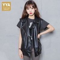 b018a19a252ca 2019 Spring New Sheepskin Genuine Leather Vest Women Sleeveless Loose Fit  Korean Waistcoats Black Natural Leather Jackets Ladies