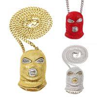 ожерелье кулон для мальчиков оптовых-Хип-хоп борьбе с терроризмом Красное золото Серебро CS Террорист маска Подвеска кубинский цепи ожерелье Майами Рэппер Цепи ювелирные подарки для мальчиков на продажу