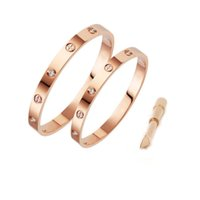 gold liebesarmbänder großhandel-Mode Frauen Schmuck Designer Armband mit Kristall Herren Gold Armbänder Edelstahl 18 Karat Liebe Armband Schraube Armreif Bracciali