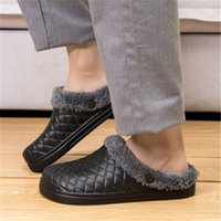 Wholesale warm house shoes resale online - Leather Home Slippers for Men Winter Warm Plush Slippers Bedroom Comfortable Unisex Men women House Indoor Shoes Size