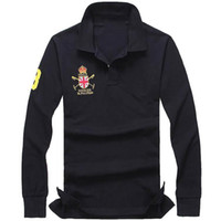 2021 New Men's polo Shirt hot sale men Polo Shirt Men Big Horse Solid Long-Sleeve Summer Casual Polo Mens Slim Polos Casual Shirt