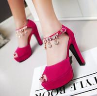 büyük kalın topuklu toptan satış-Büyük küçük boyutlu 31 32 34 42 43 44 45 46 47 lüks elmas taklidi kalın topuk platformu sandalet kadın tasarımcı sandalet gelinlik ayakkabıları