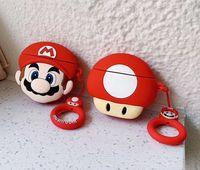 auriculares simples al por mayor-La caja del filtro de auriculares de silicona Super Mario 3D de dibujos animados lindo para Apple airpods 1 2 Cubierta de protección Anti perdió la correa simple del opp 140pcs