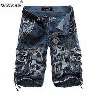 pantalones vaqueros de carga militar al por mayor-Wzzae 2018 Nuevo Diseño Hombres Camuflaje de Verano Militar Shorts de Carga Bermuda Masculina Jeans Moda Masculina Casual Baggy Denim Shorts MX190718