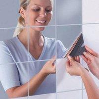 yapışkan ayna çıkartmaları toptan satış-9/16 Adet Dekoratif Kendinden Yapışkanlı Mobilya Filmleri 15X15 cm Kare PS Yüksek Kalite Ayna Folyo Duvar Stickers.7z-za129