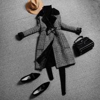 nuevos blazers de invierno al por mayor-Nuevo otoño invierno europa mujer abrigo a cuadros blazer de las mujeres outwear medio abrigos largos abrigos de señora C4052