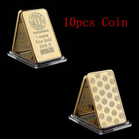 Wholesale gold bullion for sale - Group buy 10pcs Switzerland Argor Heraeus SA Melter Assayer Gold Bullion Bar Ounce Fine Gold Bar with Acrylic Case For Collection