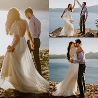 Wholesale short summer beach wedding dresses for sale - Group buy Bohemian Chiffon Wedding Dresses V Neck Short Sleeves Lace Top Backless Summer Beach Bridal Gowns robes de soirée