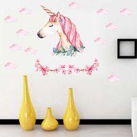 Licorne Avec Fleur Nuage Stickers Muraux Chambre Décoration Sticker Cartoon Animal Pour Fille Enfants Enfants Chambre Chambre Mural Wallpaper