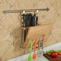 Wholesale kitchen wall boards for sale - Group buy Stainless Steel Multifunction Storage Rack Wall Mounted Knife Cutting Board Shelf Kitchen Storage Rack Holder