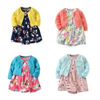 Wholesale flower top tutu dress resale online - Newborn Girls Dress Printed Floral Solid Top Single Breasted Children Designer Clothes Girls Rompers Summer Infant M