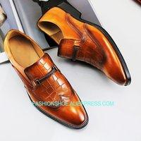 ingrosso stile coreano di vestito convenzionale-Scarpe eleganti da uomo in pelle stile coreano in vera pelle Goodyear Mocassini traspiranti Scarpe pigri