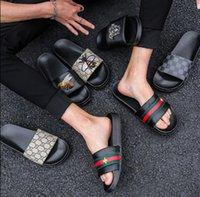 bandhefterzufuhren großhandel-Markendesigner-Pantoffeln, Designer-Sandalen mit grün-rot-grünem Band, Designer-Slides, Designer-Schuhe, Herren-Strandpantoffeln