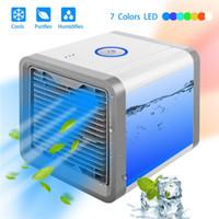 mini masaüstü usb nemlendiriciler toptan satış-Mini USB Taşınabilir Klima Nemlendirici Arıtma 7 Renkler Işık Masaüstü Ofis Ofis Için hava Soğutma Fanı Hava Soğutucu Fan araba