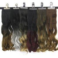 lockiges pad großhandel-Curly Burgund Grau Ombre Haar Hochtemperaturfaser Synthetische Haarteil Clip In Haarverlängerungen Pad 20 Farben