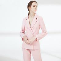 disfraz de mujer de oficina al por mayor-Trajes a medida para mujeres Traje de pantalón 2019 con muescas Diseños de uniformes de oficina Para mujer Trajes de negocios Blazer con pantalones Damas formales