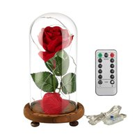 Wholesale battery lights remote control resale online - Remote Control LED Beauty Rose and Beast Battery Powered Red Flower String Light Lamp Romantic Valentine s Day Birthday Gift