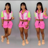 fluorescente shorts mulheres venda por atacado-Mulheres 2pcs Shorts ternos fatos de treino de verão Leisuresexy correspondência de cores Fluorescentes de mangas compridas Shorts Slim Suit fluorescente Gradiente Vestuário