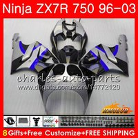 ingrosso kit corporeo zx7r-Corpo per KAWASAKI NINJA ZX-750 ZX-7R ZX750 ZX 7R 00 01 02 03 28HC.139 ZX 7 R ZX 750 ZX7R 1996 2000 2001 2002 blu argento 2003 kit carenatura