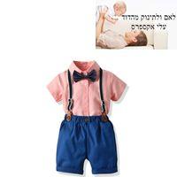 conjunto de jumper de menino venda por atacado-Crianças Verão Camisa Set Menino Bow Tie Dress Set Bebê Gentleman Jumper Calças
