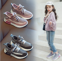 Wholesale wholesale children shoes online - Kids sneakers girls mesh knitted breathable casual shoes children letter printed lace up Bows sports shoes summer kids shoes F6278